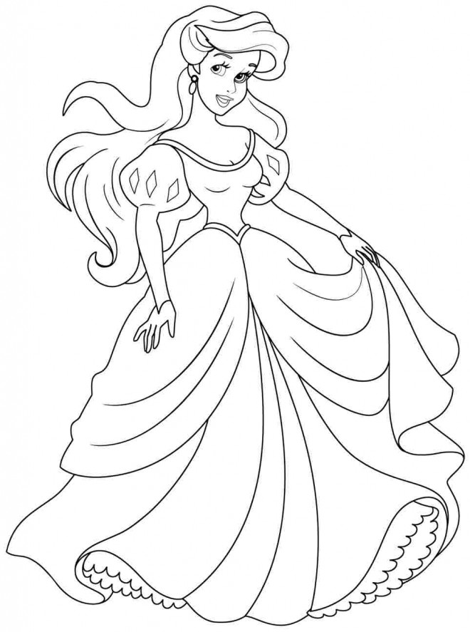 Coloriage princesse disney ariel 5 dessin gratuit imprimer - Coloriage princesse ariel ...