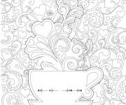 Coloriage et dessins gratuit Anti-Stress Tasse et Coeurs à imprimer