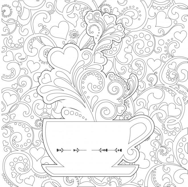 Coloriage et dessins gratuits Anti-Stress Tasse et Coeurs à imprimer