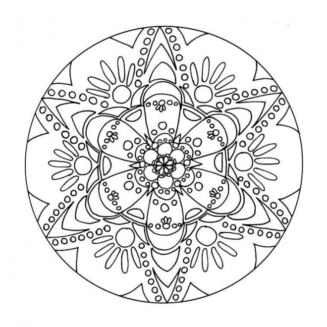 Coloriage et dessins gratuits Mandala Psychédélique Fleurs à imprimer