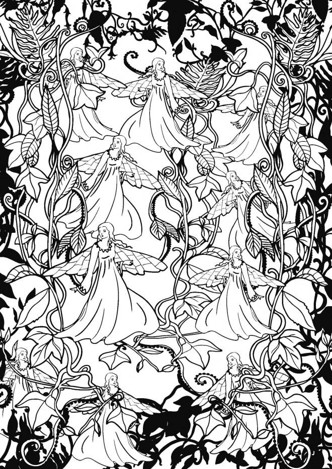 Coloriage et dessins gratuits Psychédélique Anges à imprimer