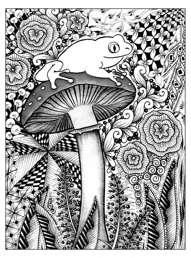 Coloriage et dessins gratuits Psychédélique Grenouille à imprimer