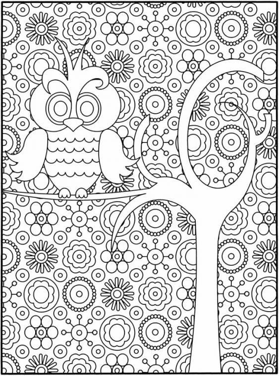 Coloriage et dessins gratuits Psychédélique  Hibou à imprimer