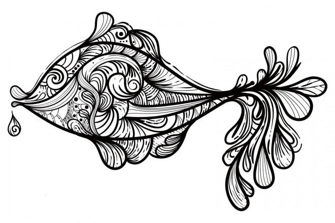 Coloriage et dessins gratuits Psychédélique  Poisson à imprimer