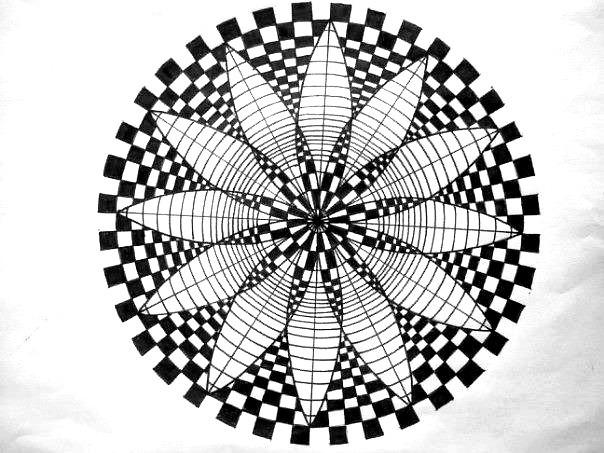 Coloriage et dessins gratuits Psychédélique stylisé en noir à imprimer