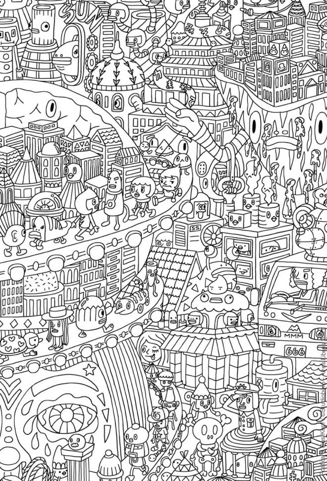Coloriage et dessins gratuits Psychédélique Ville à imprimer