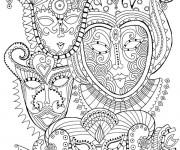 Coloriage et dessins gratuit Psychédélique Visages à imprimer