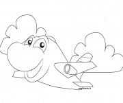 Coloriage Avion en souriant pour enfant