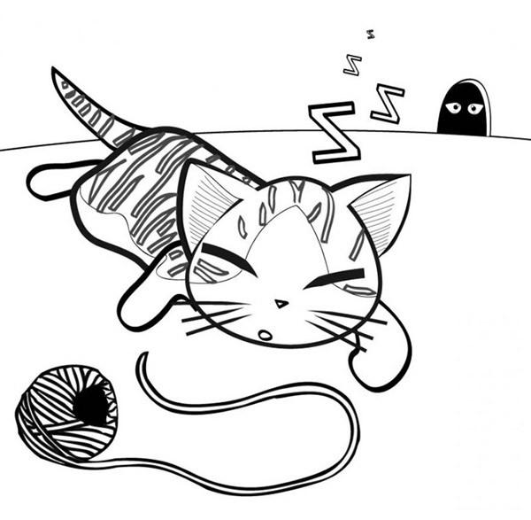 Coloriage chat rigolo qui dort dessin gratuit imprimer - Dessin chat rigolo ...