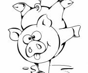 Coloriage Cochon Rigolo acrobatique