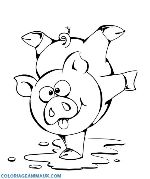 Coloriage et dessins gratuits Cochon Rigolo acrobatique à imprimer
