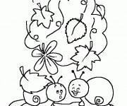 Coloriage et dessins gratuit Escargots rigolos maternelle à imprimer