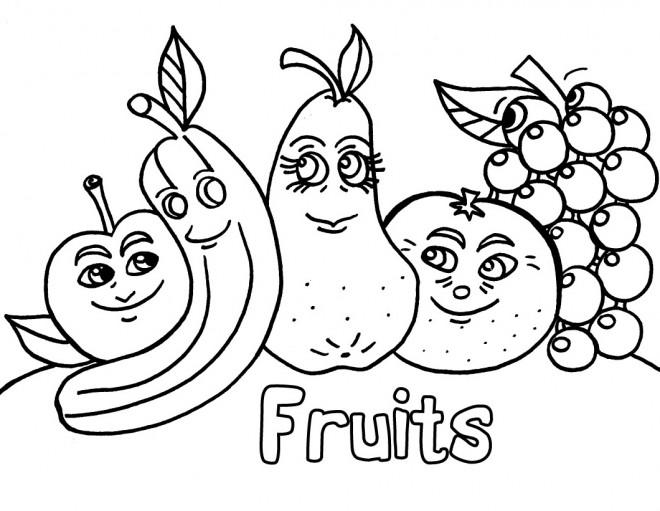 Coloriage Gratuit Fruits Legumes.Coloriage Les Fruits Droles Dessin Gratuit A Imprimer