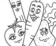 Coloriage et dessins gratuit Les Légumes drôle à imprimer