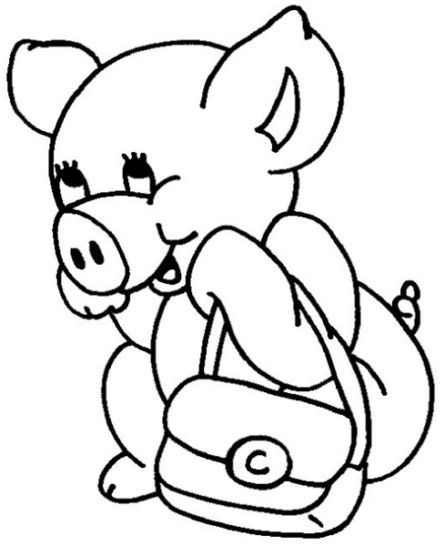 Coloriage Petit Cochon souriant dessin gratuit à imprimer