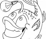 Coloriage et dessins gratuit Poisson lumineux humoristique à imprimer
