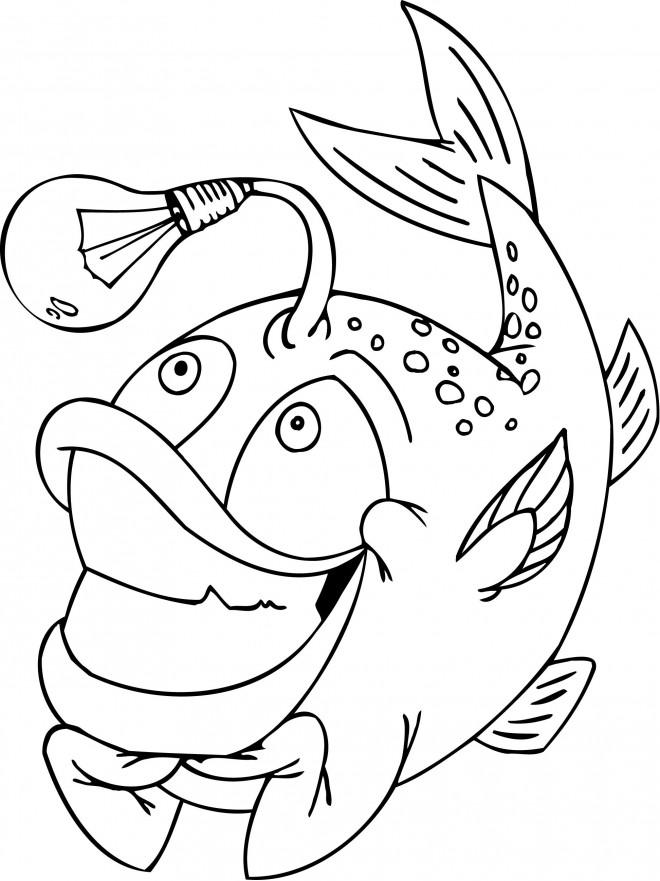 Coloriage et dessins gratuits Poisson lumineux humoristique à imprimer