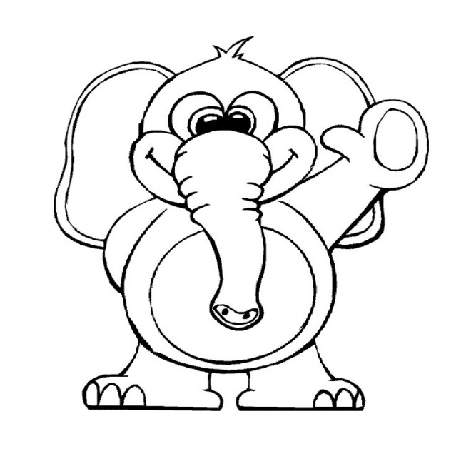 Coloriage rigolo d 39 animaux dessin gratuit imprimer - Dessin elephant rigolo ...