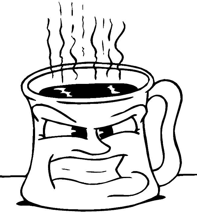 Coloriage tasse de caf rigolo colorier - Tasse de cafe dessin ...