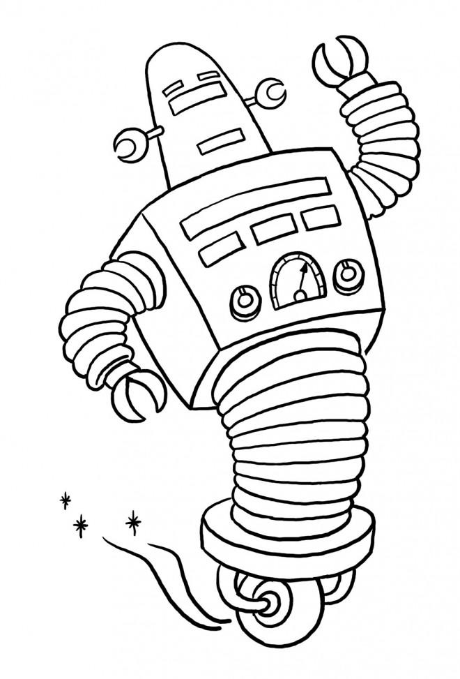 robot dans l univers a colorier
