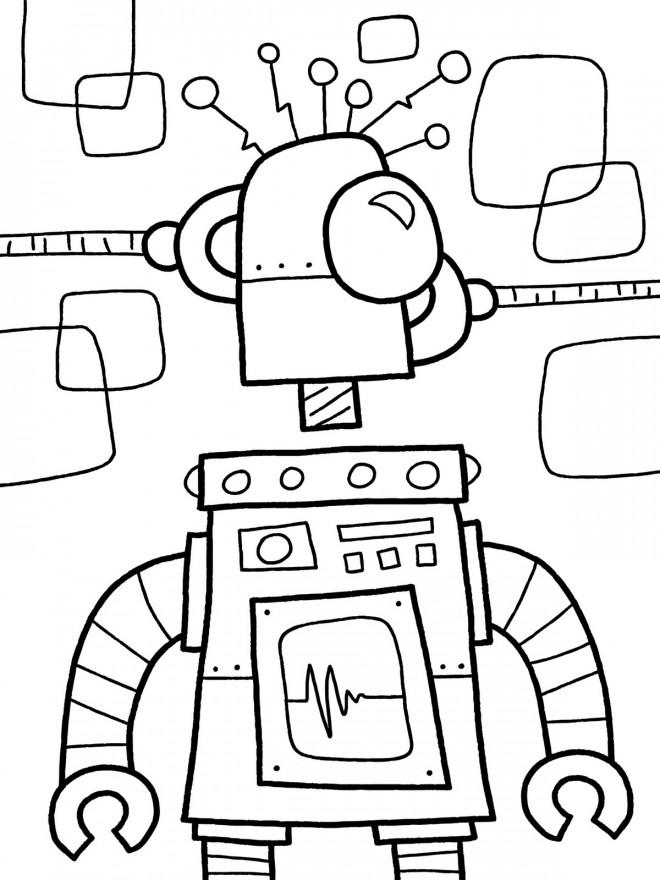 Coloriage et dessins gratuits Robot en construction à imprimer