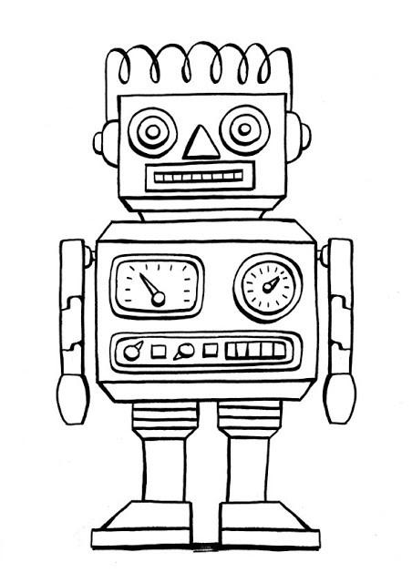 Coloriage et dessins gratuits Robot en noir et blanc à imprimer
