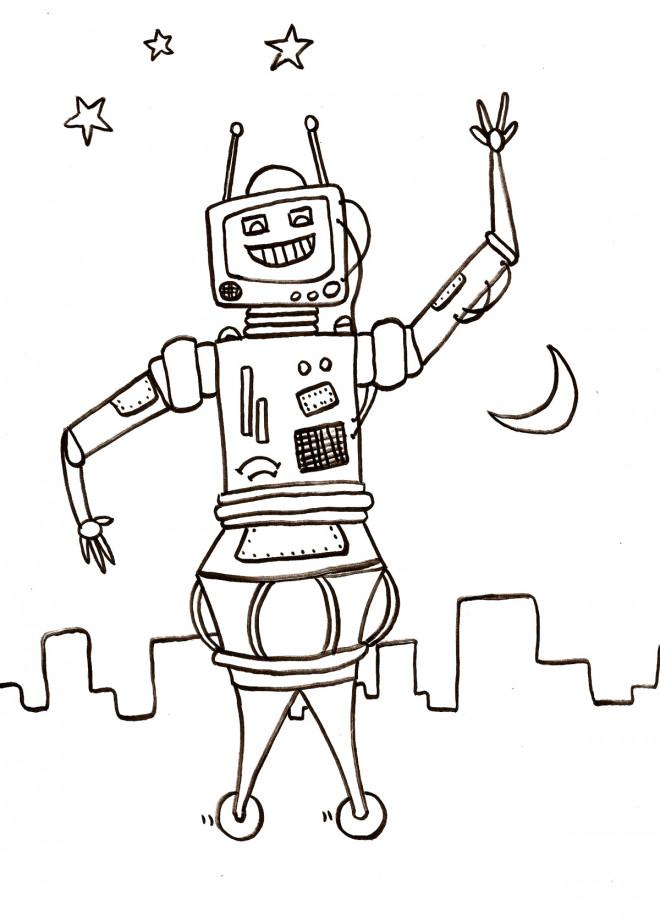 Coloriage et dessins gratuits Robot en Ville au crayon à imprimer