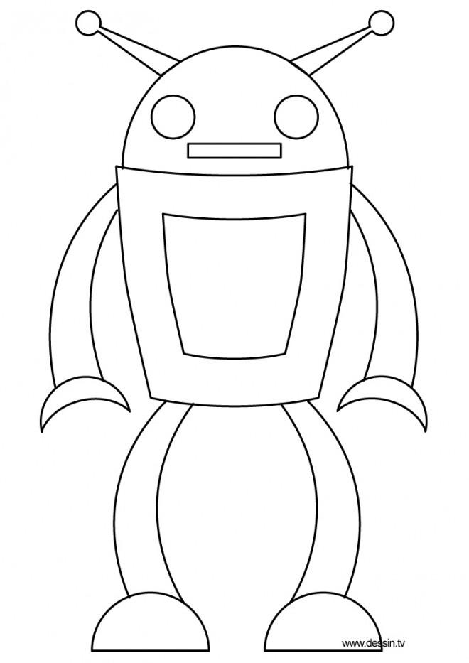 Coloriage et dessins gratuits Robot facile avec antenne à imprimer