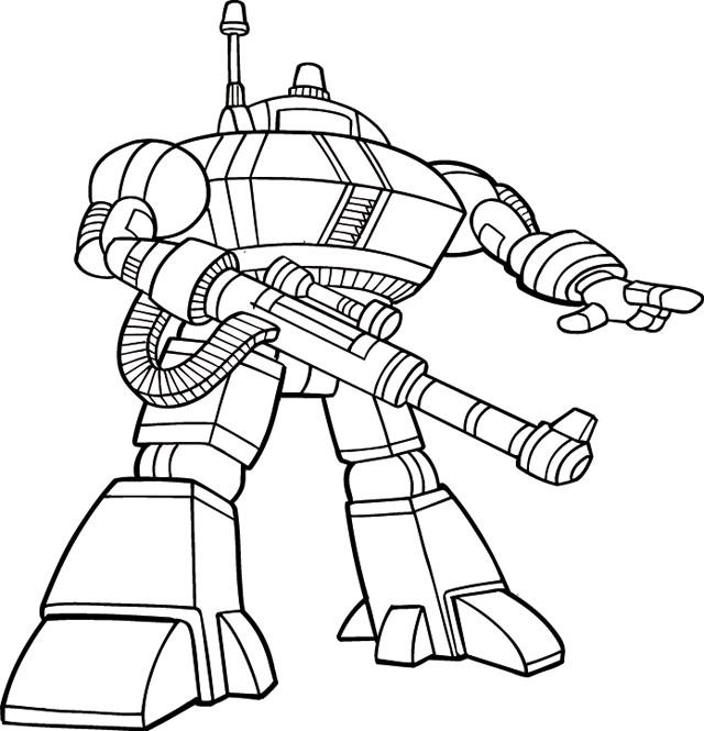 Coloriage et dessins gratuits Robot prêt pour La Bataille à imprimer