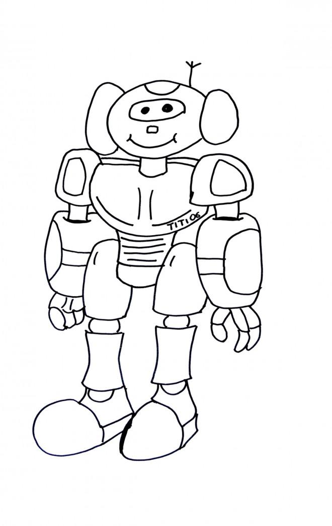 Coloriage et dessins gratuits Robot souriant couleur à imprimer