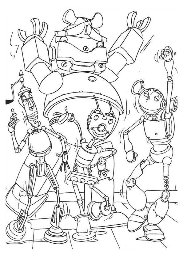 Coloriage et dessins gratuits Robots en bon humeur à imprimer