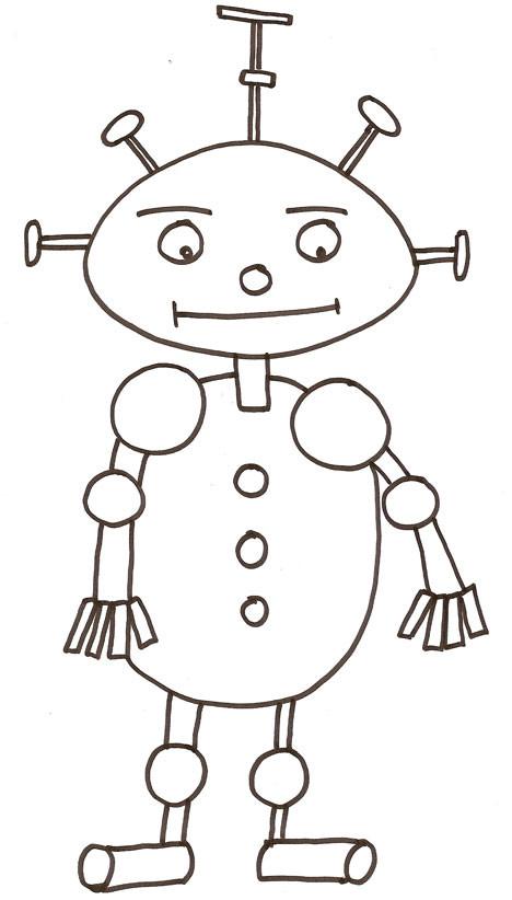 Coloriage et dessins gratuits Robots facile au crayon à imprimer