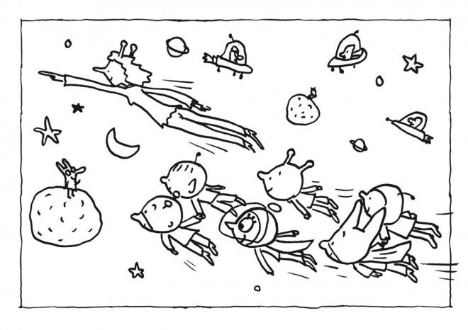 Coloriage et dessins gratuits Samsam dans la Sam Soucoupe volante à imprimer
