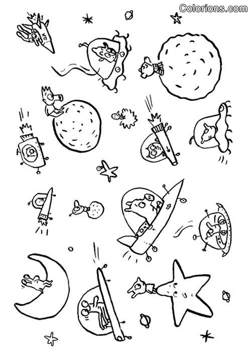 Coloriage et dessins gratuits Samsam et L'espace dessin animé à imprimer