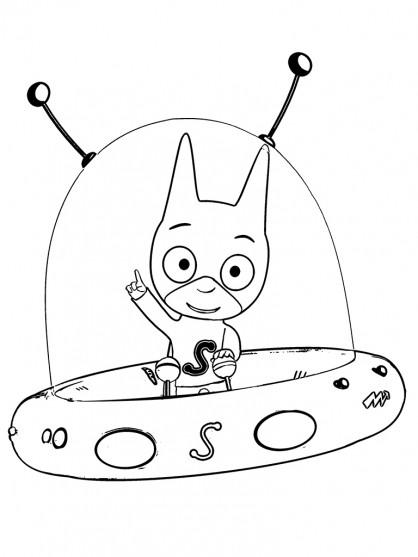 Coloriage et dessins gratuits Samsam sur son vaisseau spatial à imprimer