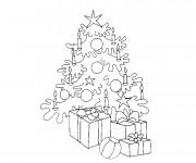 Coloriage Arbre et Cadeaux de Noël