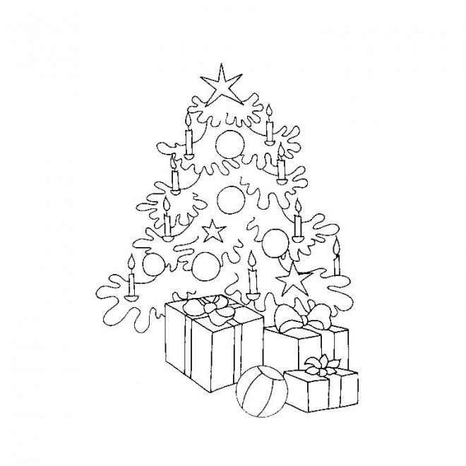 Coloriage et dessins gratuits Arbre et Cadeaux de Noël à imprimer