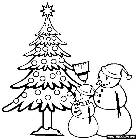 Coloriage et dessins gratuits Bonhommes de Neige devant Le Sapin à imprimer