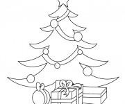 Coloriage Cadeaux et Sapin de Noël