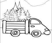 Coloriage Camion transporte trop de sapin