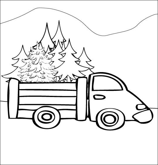 Coloriage et dessins gratuits Camion transporte trop de sapin à imprimer