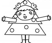 Coloriage Enfant et Sapin de Noël