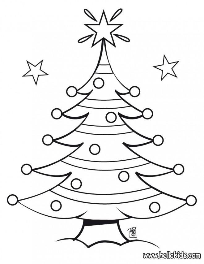 Coloriage et dessins gratuits Gabarit de Sapin de Noël à imprimer