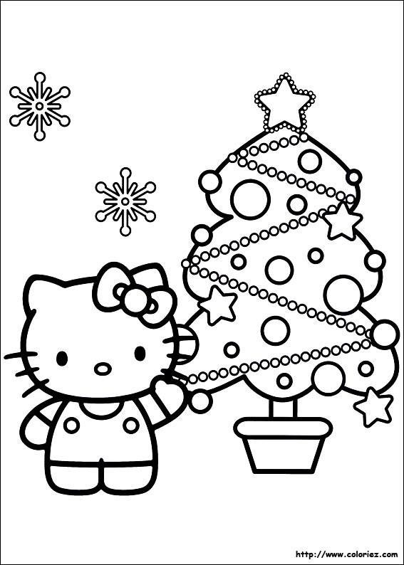 Coloriage Hello Kitty et Le Sapin de Noël dessin gratuit à imprimer