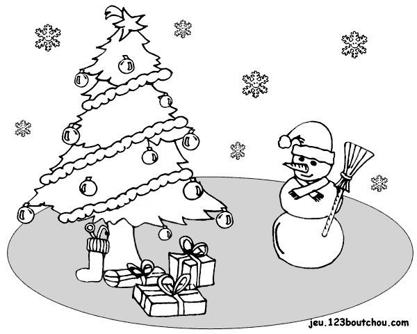 Coloriage et dessins gratuits Homme de Neige et Sapin Noël stylisé à imprimer