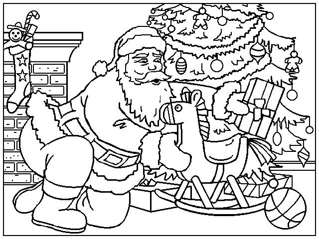 Coloriage et dessins gratuits Le Père Noël dépose des cadeaux sous le sapin à imprimer