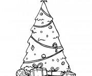 Coloriage Noël et Arbre Sapin