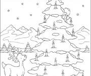 Coloriage Paysage de Sapin de Noël