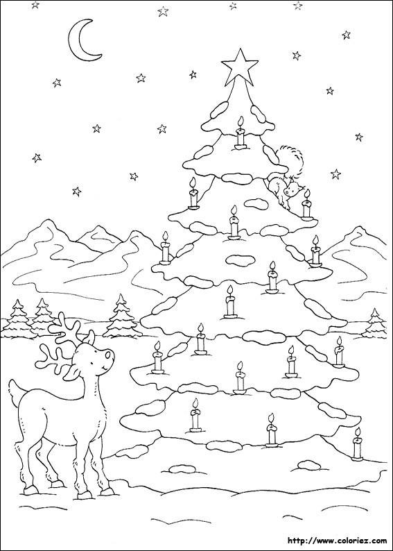 Coloriage Paysage De Sapin De Noël Dessin Gratuit à Imprimer