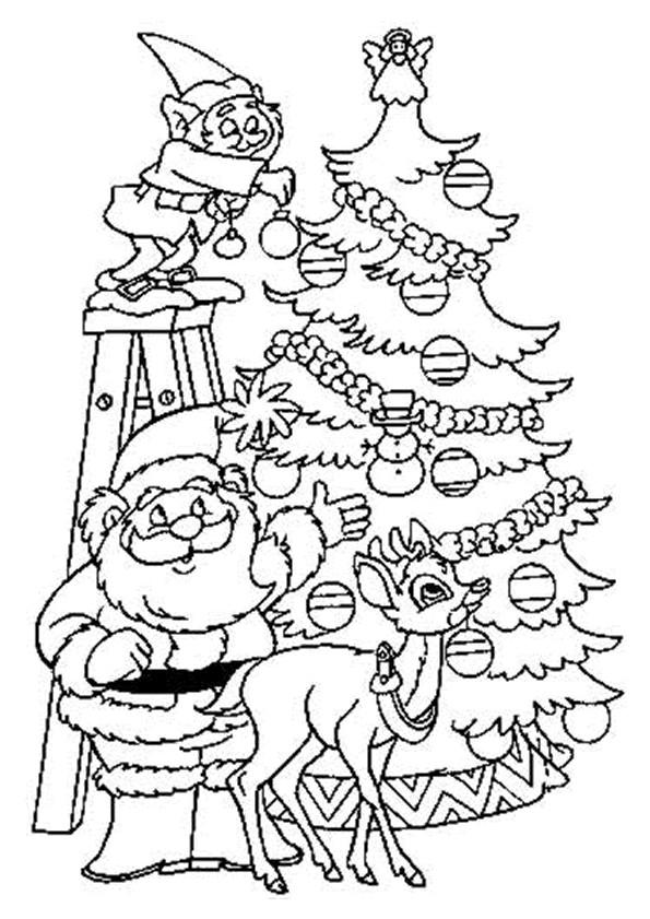 Coloriage et dessins gratuits Père Noël décore le Sapin à imprimer